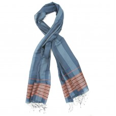 Line Silk + Wool Scarf (Blue)