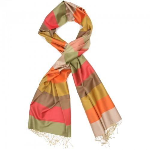 Horizontal Lines Pure Satin Silk Scarf (Orange & Brown)