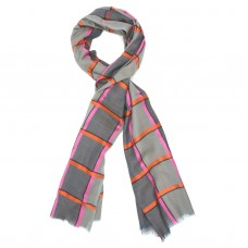 Check Silk + Wool Scarf (Grey)