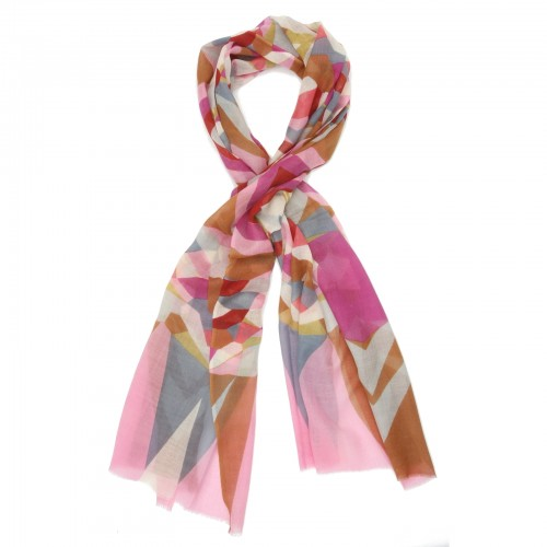 Abstract Silk + Wool Scarf (Pink)