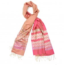 Chevron Pure Satin Silk Scarf (Pink)