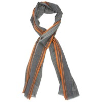 Lines Small Check Silk & Wool Scarf (Orange)