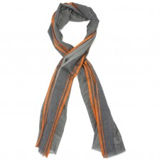 Lines Small Check Silk & Wool Scarf (Orange)