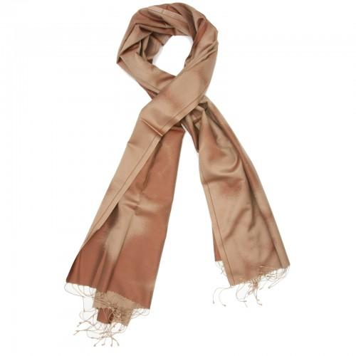 Gradient Pure Satin Silk Scarf (Copper colour shades)