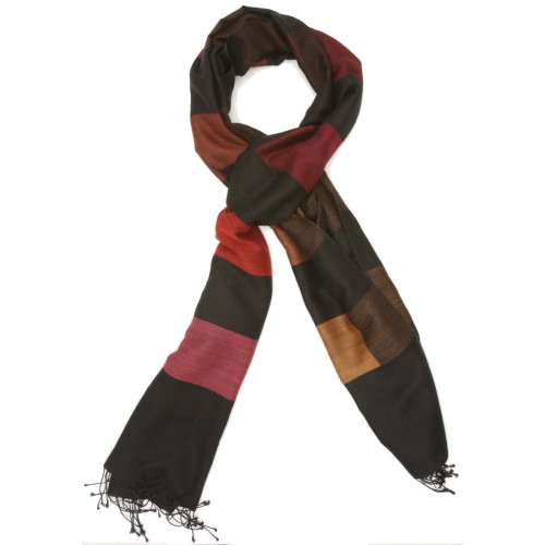 Checks Cotton + Wool Scarf (Black + Red)