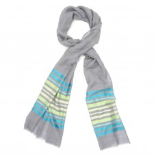 Horizontal Lines Silk + Wool Scarf (Blue & Grey)