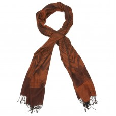 Printed Cotton & Wool Scarf (Brown)
