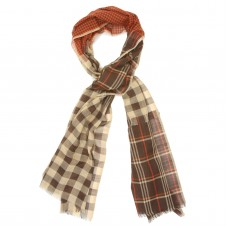 Checks Cotton + Wool Scarf (Brown)