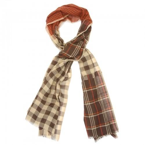 Checks Cotton + Wool Scarf (Brown)