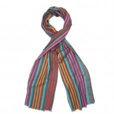 Vertical Line Silk + Wool Scarf (Dark Grey)