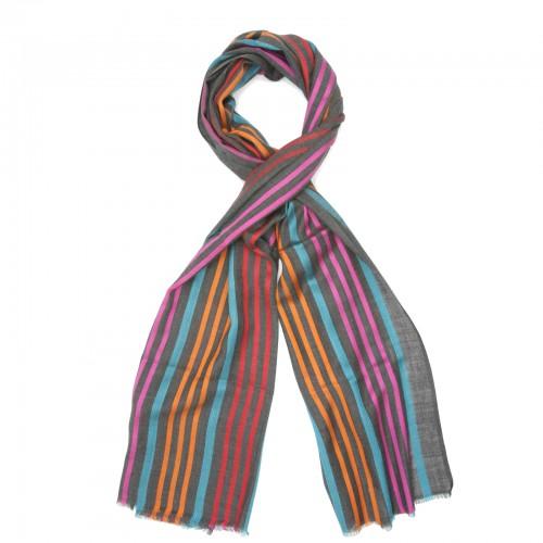 Vertical Line Silk + Wool Scarf (Dark Grey)
