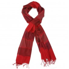 Horizontal Line  Silk & Wool Scarf (Red)