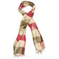 Checks Pure Satin Silk Scarf (Red & Green)