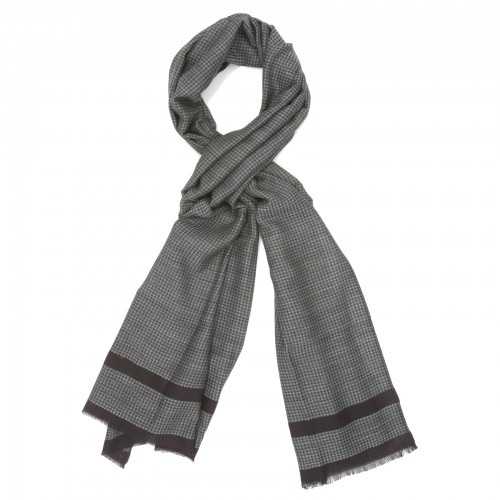 Small Checks Cotton + Wool Scarf (Grey)