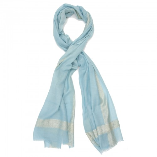 Horizontal & Vertical Line Silk + Wool Scarf (Baby Blue)