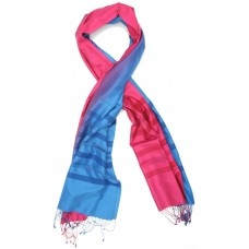 Gradient Pure Satin Silk Scarf (Pink & Blue)