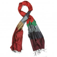 Horizontal Lines Pure Satin Silk Scarf (Red & Grey)
