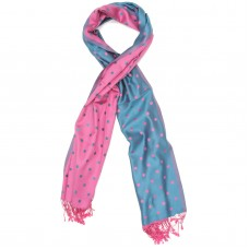 Dots Pure Satin Silk Scarf (Light Pink & Sky Blue)