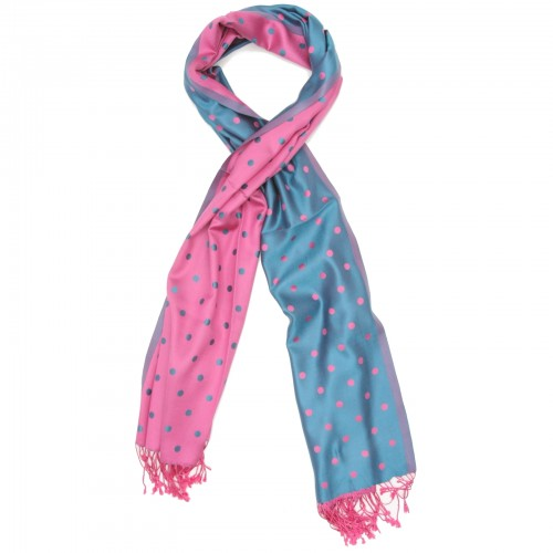 Dots Pure Satin Silk Scarf (Light Pink & Sky Blue)