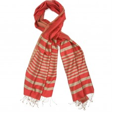 Horizontal Lines Pure Satin Silk Scarf (Orange-Red)