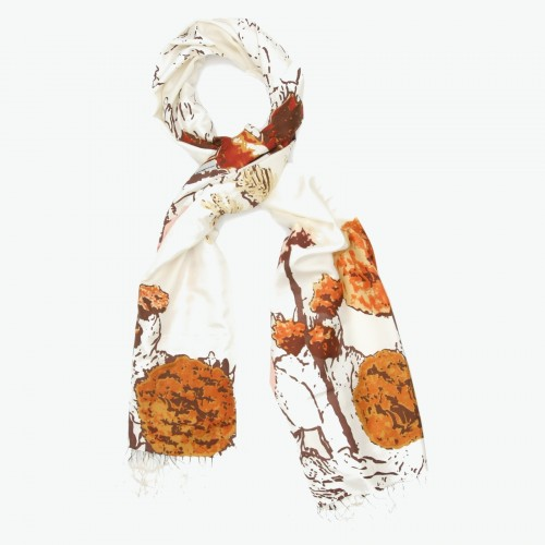 Designer Pure Satin Silk Scarf (OffWhite)