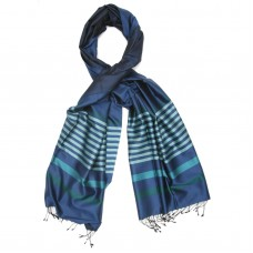 Horizontal Small Lines Pure Satin Silk Scarf (Dark Blue)