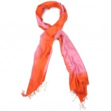 Gradient Pure Satin Silk Scarf (Pink And Orange)