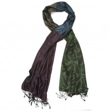 Paisley Pure Satin Silk Scarf (Fern green, eggplant, dark Tufts Blue.)