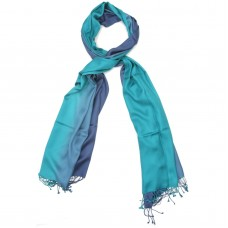 Vertical Gradient Pure Satin Silk Scarf (Blue)