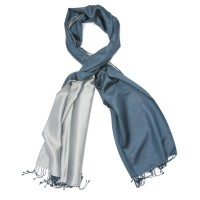 Plain Reversible Pure Satin Silk Scarf (Blue & Grey)