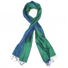 Reversible Pure Satin Silk Scarf (Green and Blue)